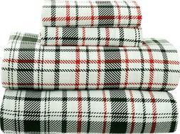 Bliss Casa 4 Piece 100% Cotton Flannel Sheets Set - Deep Poc