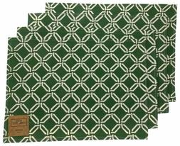 Green White Placemats Apron Carry Bag Tote Set of 6 Home Con
