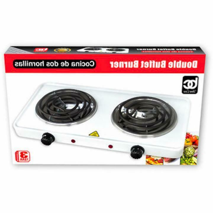 double electric burner in white double burner