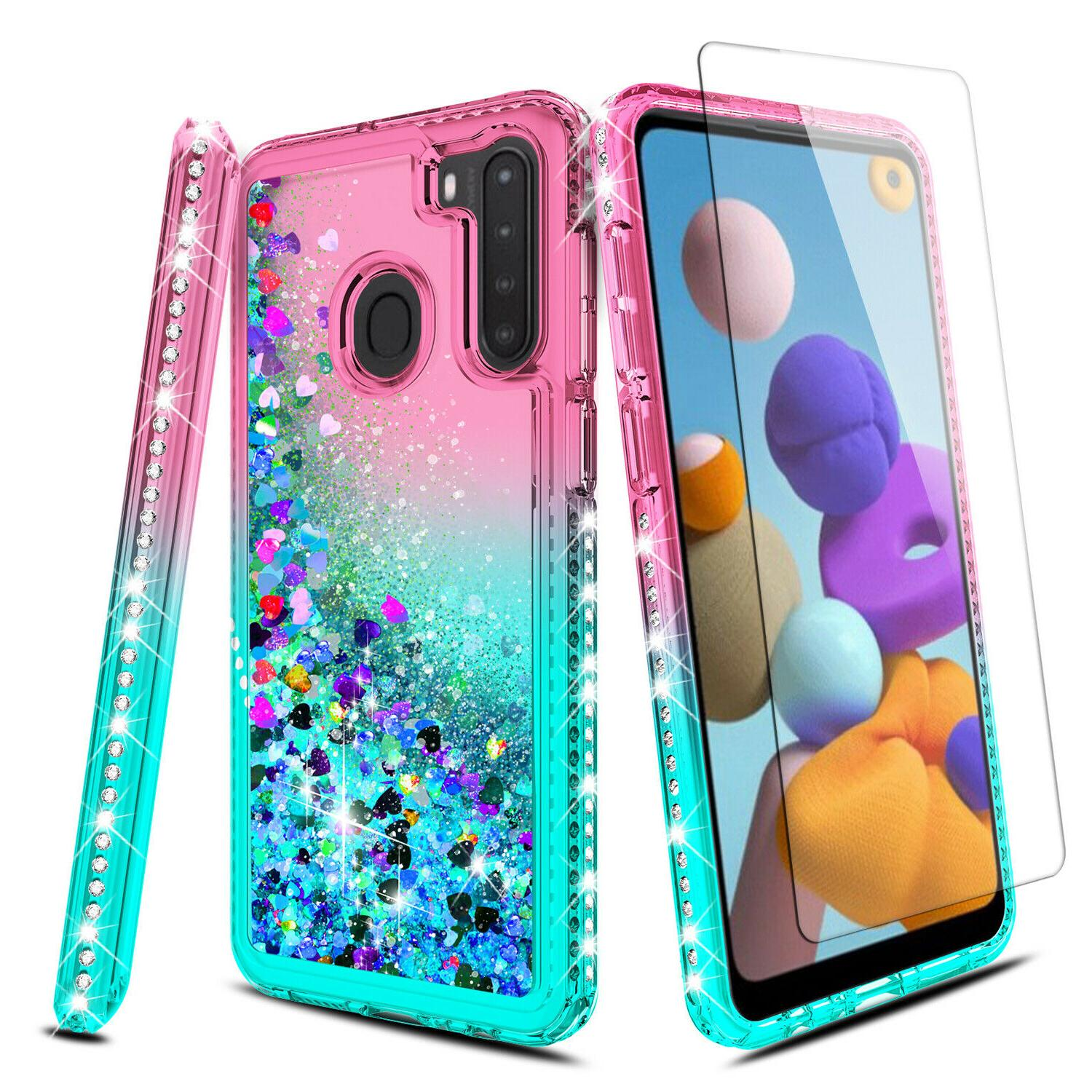 For Samsung A21 Case,Liquid Cover+Tempered Glass Screen Protector