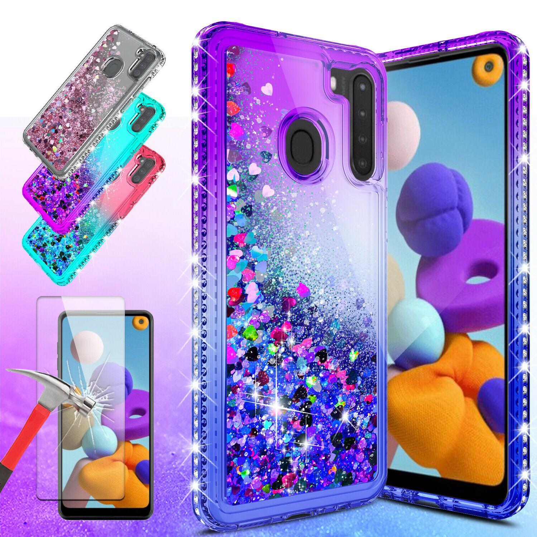 samsung galaxy a21 case liquid glitter