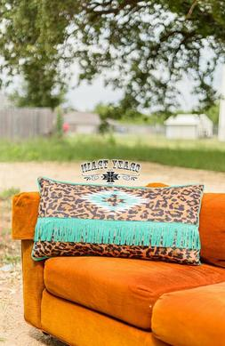 Lounger Leopard Pillow by Crazy Train  - Aztec Leopard Fring